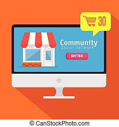 mensagem, rede computador, comunidade, social