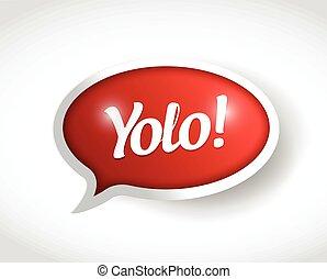 mensagem, yolo, bolha, ilustração