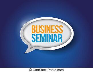 mensaje, burbuja, seminario del negocio, señal