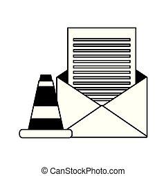 mensaje de correo electrónico, advertencia, datos