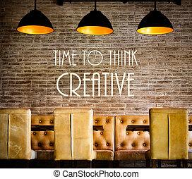 mensaje, de motivación, tiempo, pensar, creativo