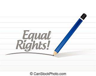 mensaje, derechos, igual, ilustración, señal