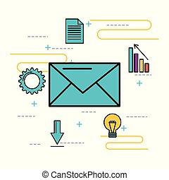 mensaje, email, nevelope, idea negocio, solución
