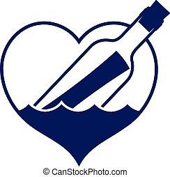 mensaje, en forma de corazón, botella, icono