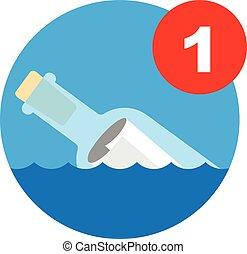 mensaje en una botella, icono
