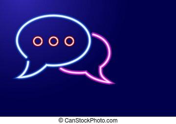 mensaje, encendido, charla, rojo, neón, luminescencia,...