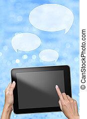 mensaje, enviar, tableta, mano