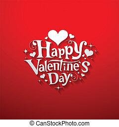 mensaje, feliz, bandera, día, valentine