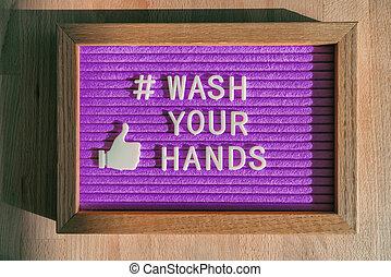 mensaje, prevention., medios, mano, negocio entrega, almacenar la muestra, aviso, covid-19, su, higiene, púrpura, bueno, hashtag, lavado, cartelera, social, contra, coronavirus, fieltro