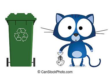 mensaje, reciclaje, gato
