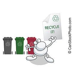 mensaje, reciclaje, tenencia, hombre