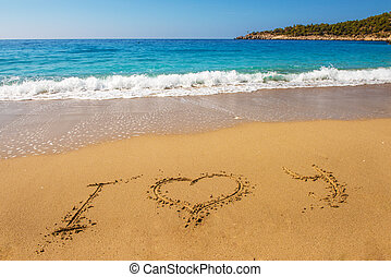 mensaje, te amo, en, playa de arena