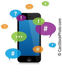 mensajería, smartphone, charla