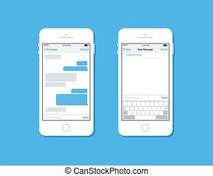 mensajería, y, charlar, en, teléfono móvil, vector,...