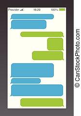 mensajero, cortocircuito, mensaje, servicio, bubbles., texto, charla, sms, boxes., vacío, mensajería, bubles, template.
