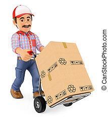 mensajero, empujar, mano, entrega, cajas, camión, hombre, 3d