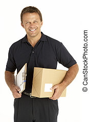mensajero, sujetar un paquete, y, portapapeles