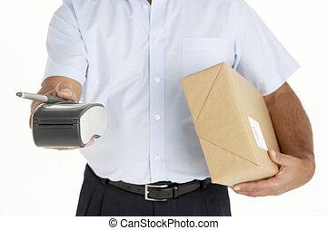 mensajero, sujetar un paquete, y, un, electrónico,...