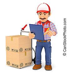 mensajero, verificar, entregar, hombre de entrega, paquetes, 3d