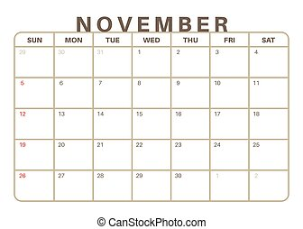 mensal, calendário, 2017, novembro