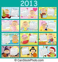 mensal, calendário, bebê, 2013