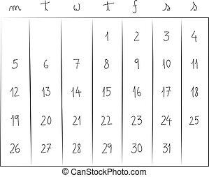 mensal, calendário