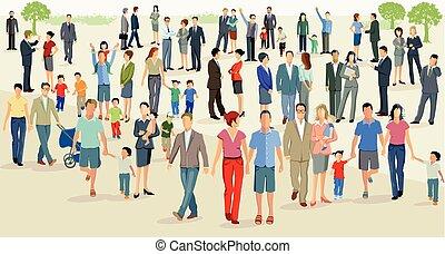 Menschen auf einem Platz.eps - Crowd on a large square