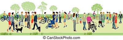 Menschen beim Spazieren.eps - Families walk in the park,...