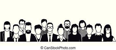 Menschen-Potrait.eps - Persons portrait, faces illustration