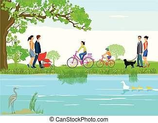 Menschen  Wasser.eps - Families relax by the lake