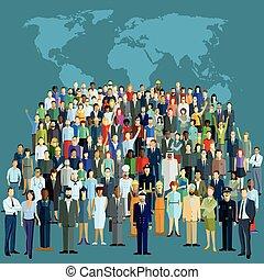 Menschen Weltkarte.eps - World population, global network