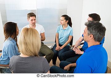 menschengruppe, haben, diskussion