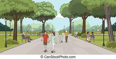 menschengruppe, in, der, park.