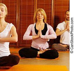 menschengruppe, meditieren