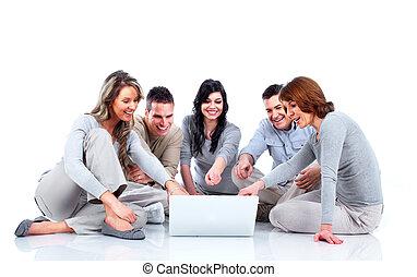menschengruppe, mit, laptop, computer.