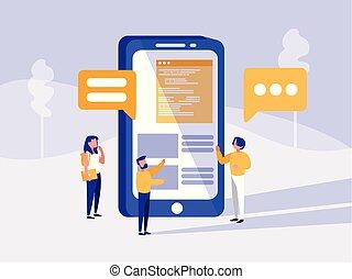 menschengruppe, mit, smartphone, in, landschaftsbild