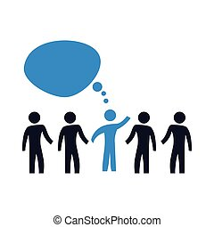 menschengruppe, mit, sprechblasen