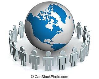 menschengruppe, stehende , runder , globe., 3d, image.