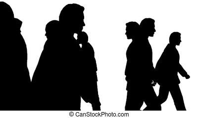 menschenmasse, bewegung, divergently, seitenansicht