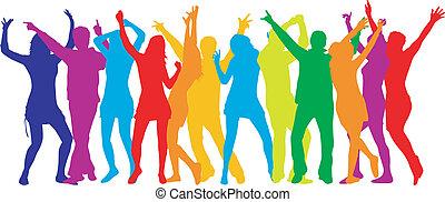 menschenmasse, farbe, -, silhouetten, party