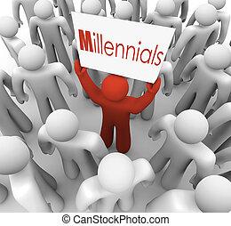 menschenmasse, generation, junger, zeichen, millennials,...