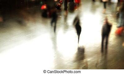 menschenmasse, rome's, schnell, temini, zug, bewegen, station