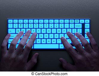 menschliche hände, mit, tastatur