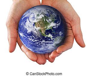 menschliche hand, halten welt, in, hände