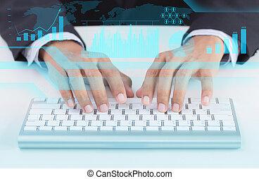 menschliche hand, und, computertastatur, als, symbol, von, hochtechnologie