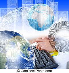 menschliche hand, und, computertastatur