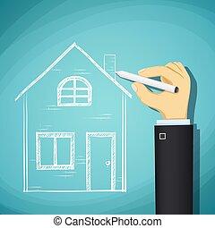 menschliche hand, zieht, skizze, von, der, house., design, architecture., sto