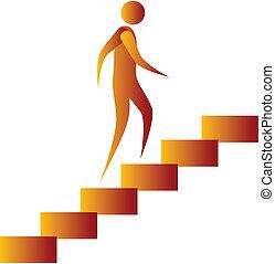 menschliche , hochklettern, der, treppe