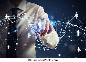 menschliche , ressource, manager, selects, der, mannschaft, für, a, neu , projekt