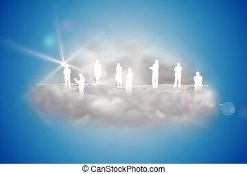 menschliche , silhouetten, auf, a, schwimmend, wolke, mit,...